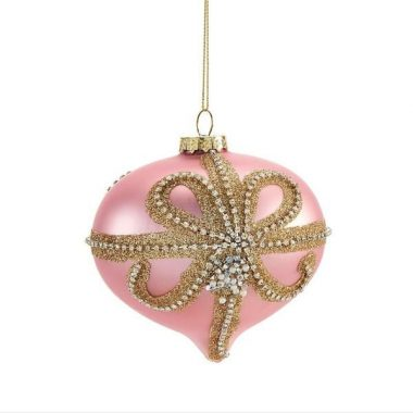 Pink with gold Beaded Bow Glass Christmas Ornament